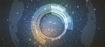 Cybersecurity en informatie of netwerkbescherming Toekomstige technologie Royalty-vrije Stock Afbeelding
