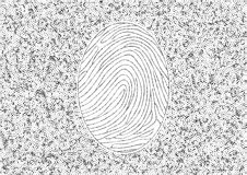 Cybersecurity. Fingerprint on a background of zeros and ones.  Royalty Free Stock Photos