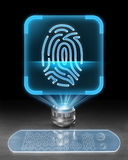 Cybersecurity. Futuristic holographic computer displaying fingerprint icon as a symbol of cybersecurity Stock Photo