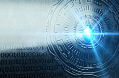 Cybersecurity Image Two Final. A conceptual image with a shield and metallic background embossed with binary code, representing cybersecurity. Created and Royalty Free Stock Images