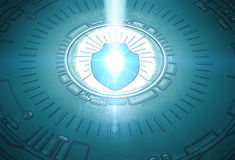 Cybersecurity Image Two Final. A conceptual image with a shield and metallic background embossed with binary code, representing cybersecurity. Created and Royalty Free Stock Image