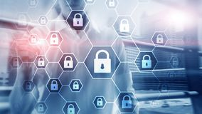 Cybersecurity, Informatieprivacy, gegevensbescherming, virus en spyware defensie stock illustratie