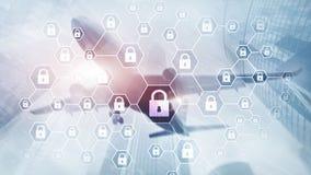 Cybersecurity, Informatieprivacy, gegevensbescherming, virus en spyware defensie royalty-vrije illustratie