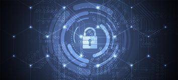 Cybersecurity and information or network protection. Future tech. Cybersecurity and information or network protection. Future cyber technology web services for stock illustration