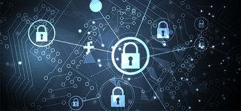 Cybersecurity and information or network protection. Future technology web services for business and internet project stock image