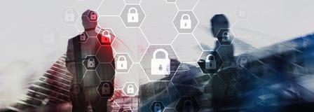 Cybersecurity, informationsavskildhet, dataskydd, virus och spywareförsvar royaltyfria bilder