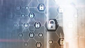 Cybersecurity, informationsavskildhet, dataskydd, virus och spywareförsvar vektor illustrationer