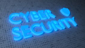 Cybersecurity on letter background fading into darkness. Blue shield symbol and the word cybersecurity on a random white grunge letter background fading into the Royalty Free Stock Photo