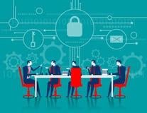 CyberSecurity Sécurité de réunion d'affaires Images libres de droits