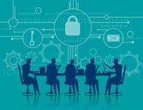 CyberSecurity Seguridad de la reunión de negocios Illus del negocio del concepto Imagen de archivo