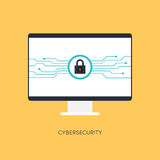 Cybersecurity system, Internet protection concept. Vector illustration Stock Image