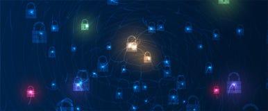 Cybersecurity und Informations- oder Netzschutz Zukünftige Technologiewebservices für Geschäft und Internet projektieren lizenzfreie abbildung