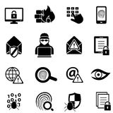 Cybersecurity, virus and computer security icons. Cybersecurity, virus, malware and computer security icons Royalty Free Stock Image