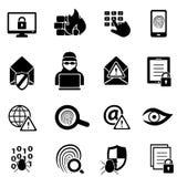 Cybersecurity, virus ed icone di sicurezza informatica illustrazione di stock