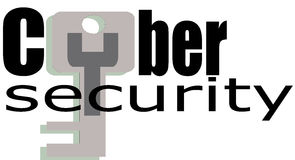 CyberSecurity Word conceptual Illustration Icon. Royalty Free Stock Photo