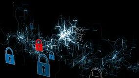 Cybersecurity y protección de la información o de la red Los servicios web futuros de la tecnología para el negocio y Internet pr metrajes