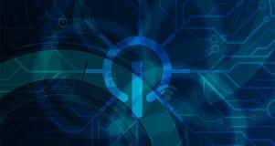 Cybersecurity y protecci?n de la informaci?n o de la red Los servicios web futuros de la tecnolog?a para el negocio y Internet pr fotografía de archivo