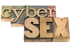 Cybersex word in wood type. Cybersex word- isolated text in letterpress wood type blocks stained by color inks stock photography