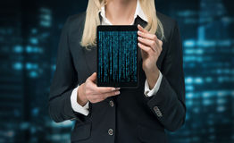Cyberspace. Businesswoman holding touch pad with cyberspace Stock Photos