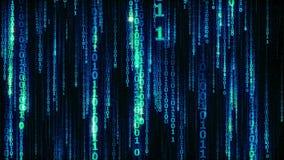 Cyberspace com linhas de queda digitais, corrente de suspensão binária - laço sem emenda ilustração do vetor