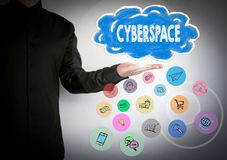 Cyberspace concept. Cloud and and icons. Business background.  royalty free stock image