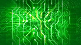 Sparkling Mazes In Green Circuit Board. A cyberspace 3d rendering of a global circular board with puzzles from golden stripes, mazes of shimmering lines, curvy Stock Illustration
