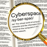 Cyberspace Definition Magnifier Showing Virtual World Of Online Royalty Free Stock Image