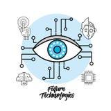Cyberspace di Digital con il sistema visivo del collegamento illustrazione di stock