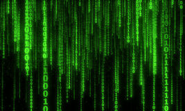 Cyberspace with digital falling lines, binary hanging chain. Abstract background with green digital lines Stock Photos