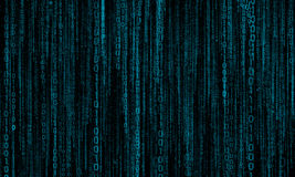 Cyberspace with digital lines, binary hanging chain. Abstract background with blue digital lines royalty free stock photo