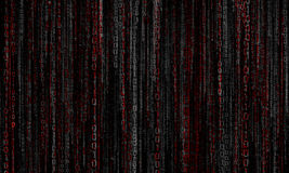 Cyberspace with digital lines, binary hanging chain. Abstract background with gray - red digital lines stock photo