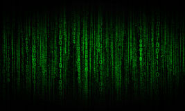 Cyberspace with digital lines, binary hanging chain. Abstract background with green digital lines royalty free stock photos