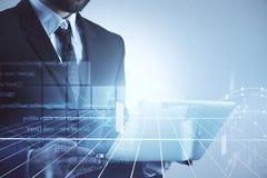 Cyberspace e mercado de valores de ação ilustração do vetor