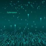 cyberspace Futuristisch Concept Van kringssporen en gegevens overdracht Vector illustratie royalty-vrije illustratie