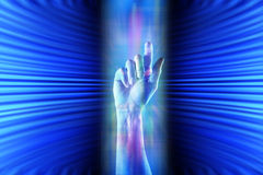 Cyberspace Hand Background Stock Photography