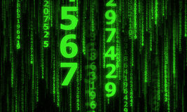 The cyberspace with many sparkling falling lines numbers Royalty Free Stock Photos