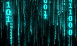 Cyberspace med digitala fallande linjer, binär hängande kedja Royaltyfri Fotografi