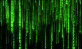 Cyberspace med digitala fallande linjer, binär hängande kedja Arkivfoton