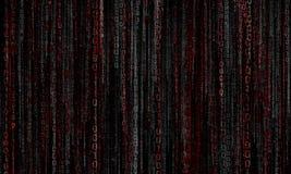 Cyberspace med digitala linjer, binär hängande kedja arkivfoto