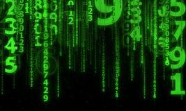 Cyberspace med fallande digitala linjer Royaltyfri Bild