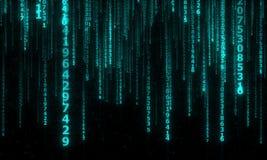 Cyberspace med fallande digitala linjer Arkivfoto