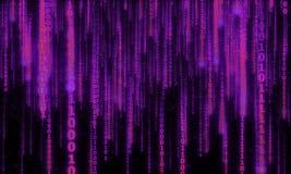 Cyberspace met digitale dalende lijnen, binaire hangende ketting Stock Foto