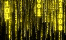Cyberspace met digitale dalende lijnen, binaire hangende ketting Royalty-vrije Stock Fotografie