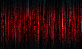 Cyberspace met digitale lijnen, binaire hangende ketting Stock Afbeeldingen