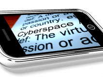 Cyberspace On Mobile Phone Shows Internet Connection Royalty Free Stock Images