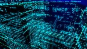 Cyberspace nelle dimensioni 3d con le numerose cifre illustrazione di stock