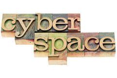 Cyberspace in wood type Royalty Free Stock Photos