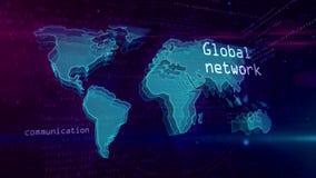 Cyberspacebegrepp för globalt nätverk med världskartan vektor illustrationer