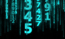 Cyberspacet med många som mousserar fallande linjer nummer Arkivbilder