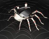 Cyberspindel i metallspiderweben Arkivbild